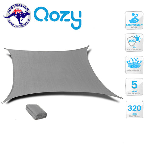 QOZY SUPER Extra Heavy Duty Shade Sail Sun Canopy 320gsm Square Rectangle Triangle Grey