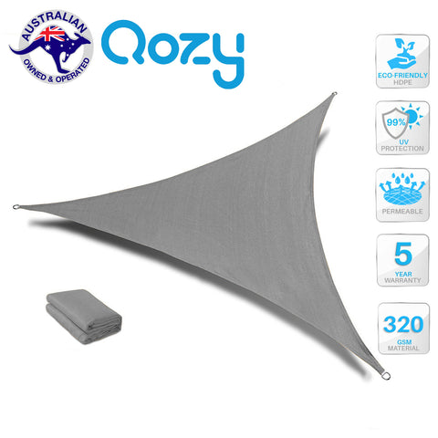Qozy SUPER Extra Heavy Duty Shade Sail Sun Canopy 320gsm Outdoor Triangle Grey