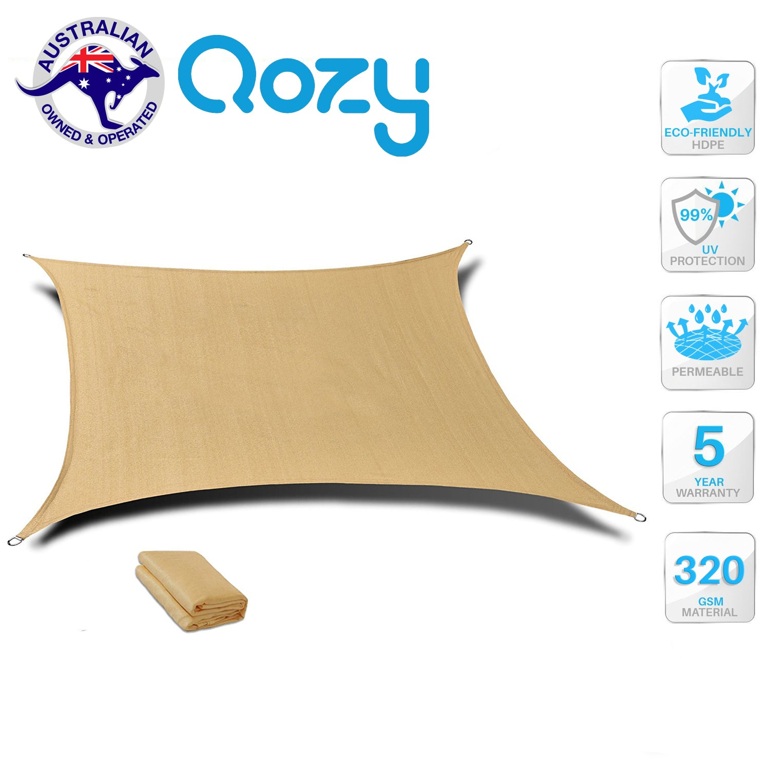 Qozy SUPER Extra Heavy Duty Shade Sail Sun Canopy 320gsm Square Rectangle Sand