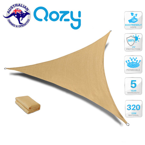 Qozy SUPER Extra Heavy Duty Shade Sail Sun Canopy 320gsm Outdoor Triangle Sand