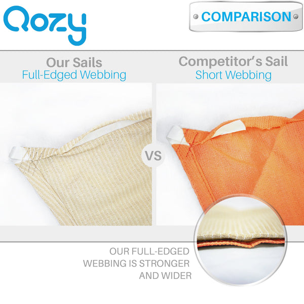 Qozy Waterproof canopy shade sail patio pool garden anti UV rectangle square Sand