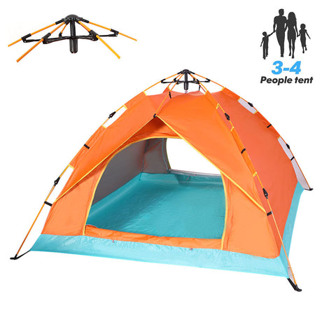 QOZY Camping Tent 4 Person, Instant Automatic 1 Minute Pop Up Dome Tent,Portable Windproof Lightweight Anti UV Sun Shade for Family Backpacking Hunting Hiking Outdoor Beach Picnic