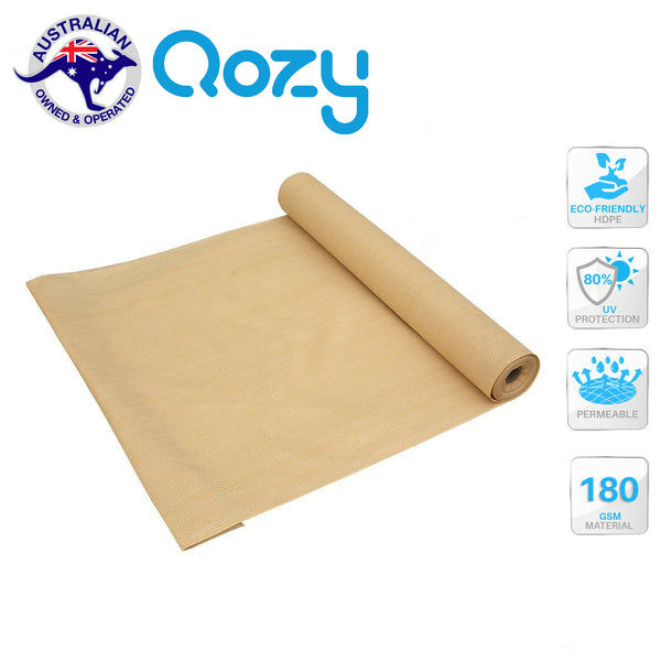 Qozy 80% UV Sun Shade Cloth Heavy Duty Sail Roll Mesh Garden Outdoor Sand