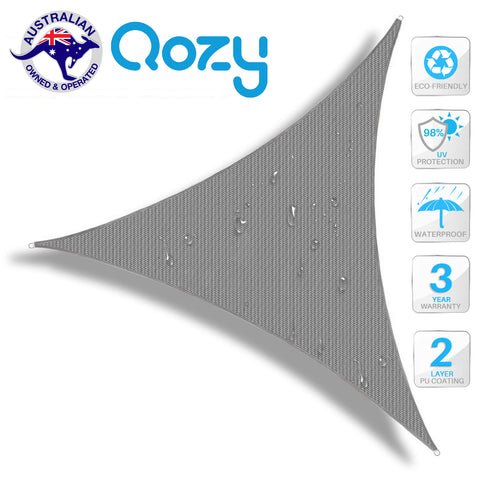 Qozy Waterproof sun canopy shade sail patio pool garden UV outdoor Triangle Grey