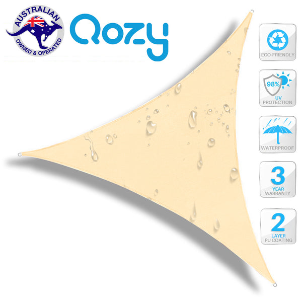 Qozy Waterproof sun canopy shade sail patio pool garden UV outdoor Triangle Sand