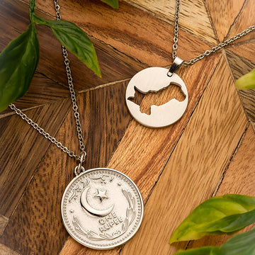 Pakistan Map + Coin Necklace | Bundle