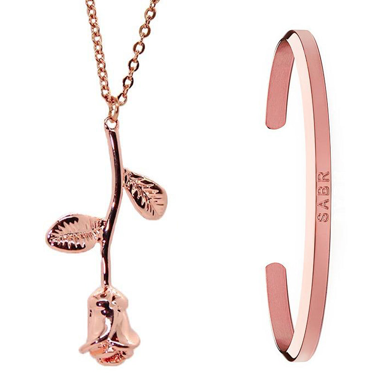 Rose Gold Rose Necklace + Cuff