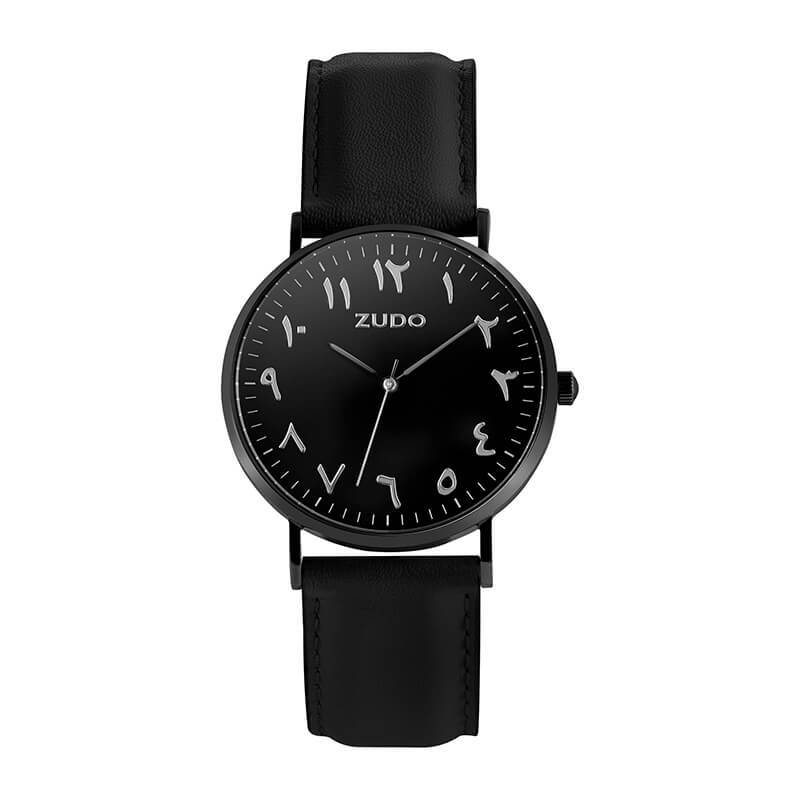 ZUDO-Roots Collection - Arabic Numeral Watch - Black Leather Strap