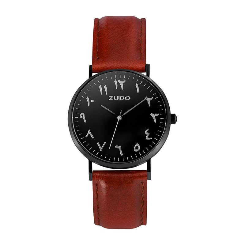 ZUDO-Roots Collection - Arabic Numeral Watch - Brown Leather Strap
