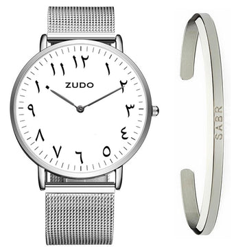 ZUDO Silver - FALAK - Arabic Watch + Cuff