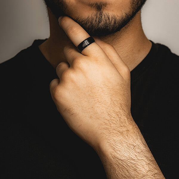 Matte Black Allah Ring