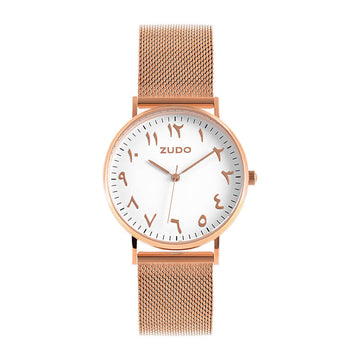 ZUDO - Origin - Arabic Numeral Watch - RG MESH