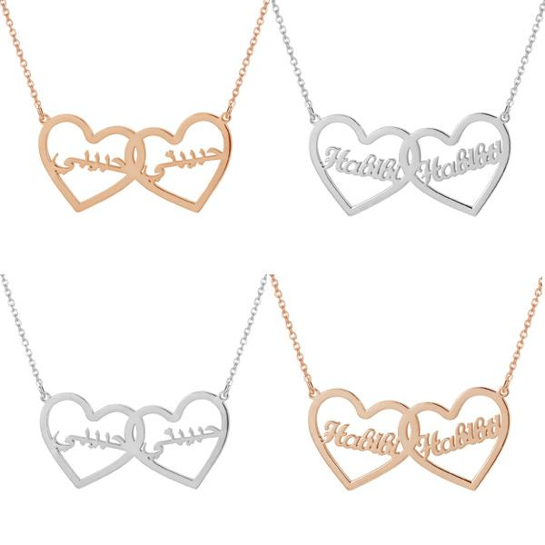 ZUDO-Double-Heart-Name-Necklace-English - Arabic-Rose gold - silverldGold