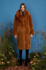 Super Luxe Faux Fur Coat - Chestnut