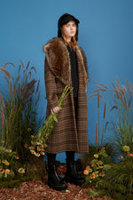 Plaid Grandpa Coat with Attached Hoodie - Camel Black