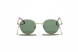 Ray Ban Style Round Polarized Metal Sunglasses Green Lens Gold Frame Front
