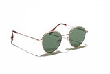 Ray Ban Style Round Polarized Metal Sunglasses Green Lens Gold Frame Side