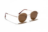 Ray Ban Style Round Polarized Metal Sunglasses Brown Lens Gold Frame Side