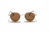 Ray Ban Style Round Polarized Metal Sunglasses Brown Lens Gold Frame Front