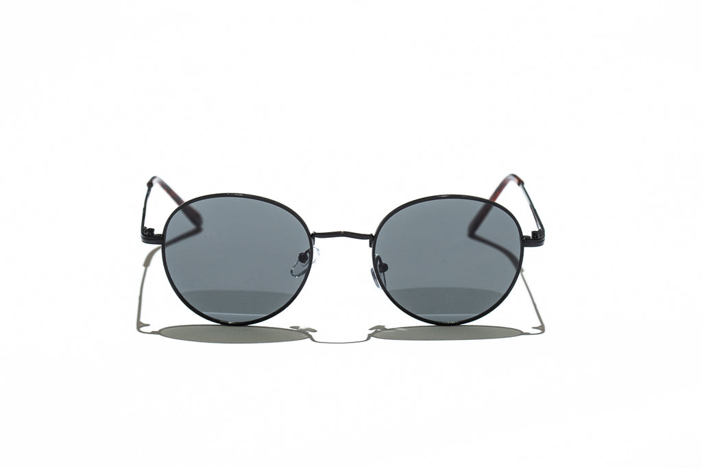 Ray Ban Style Round Polarized Metal Sunglasses Black Lens Black Frame Front