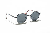 Ray Ban Style Round Polarized Metal Sunglasses Black Lens Black Frame Side