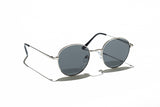 Ray Ban Style Round Polarized Metal Sunglasses Black Lens Silver Frame Side