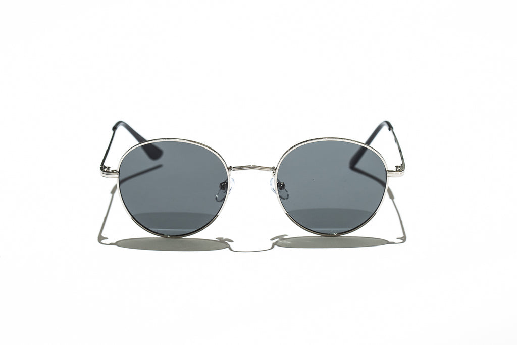 Ray Ban Style Round Polarized Metal Sunglasses Black Lens Silver Frame Front