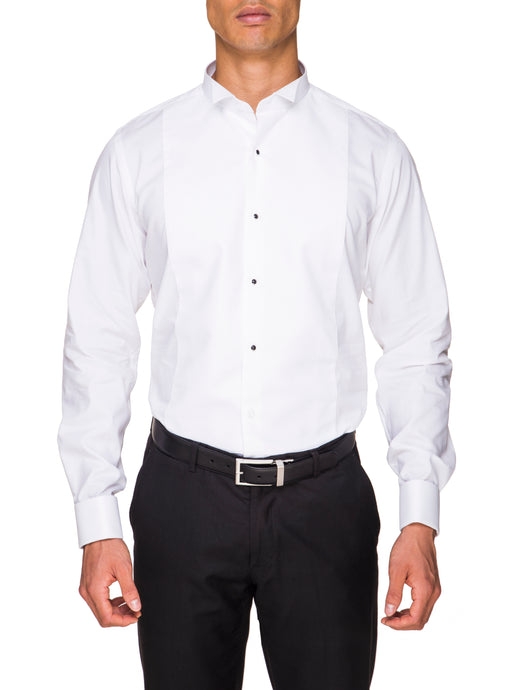Abelard, Marcella Stud Front, Wing Collar, Slim Fit - White