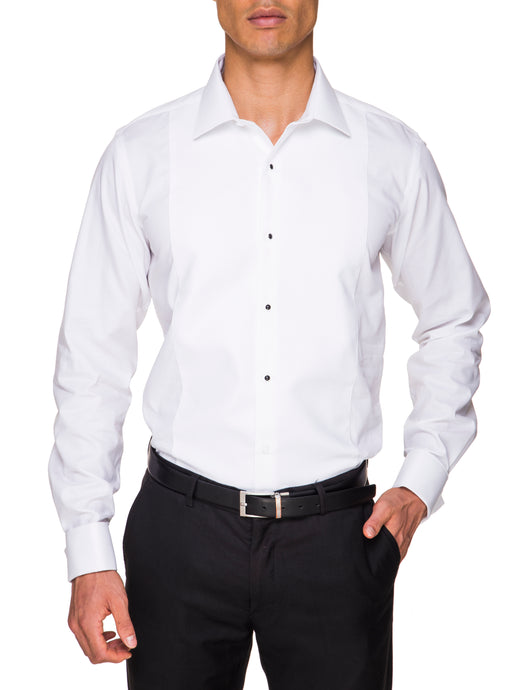 Abelard, Marcella, Stud front, Peak, Slim Fit - White