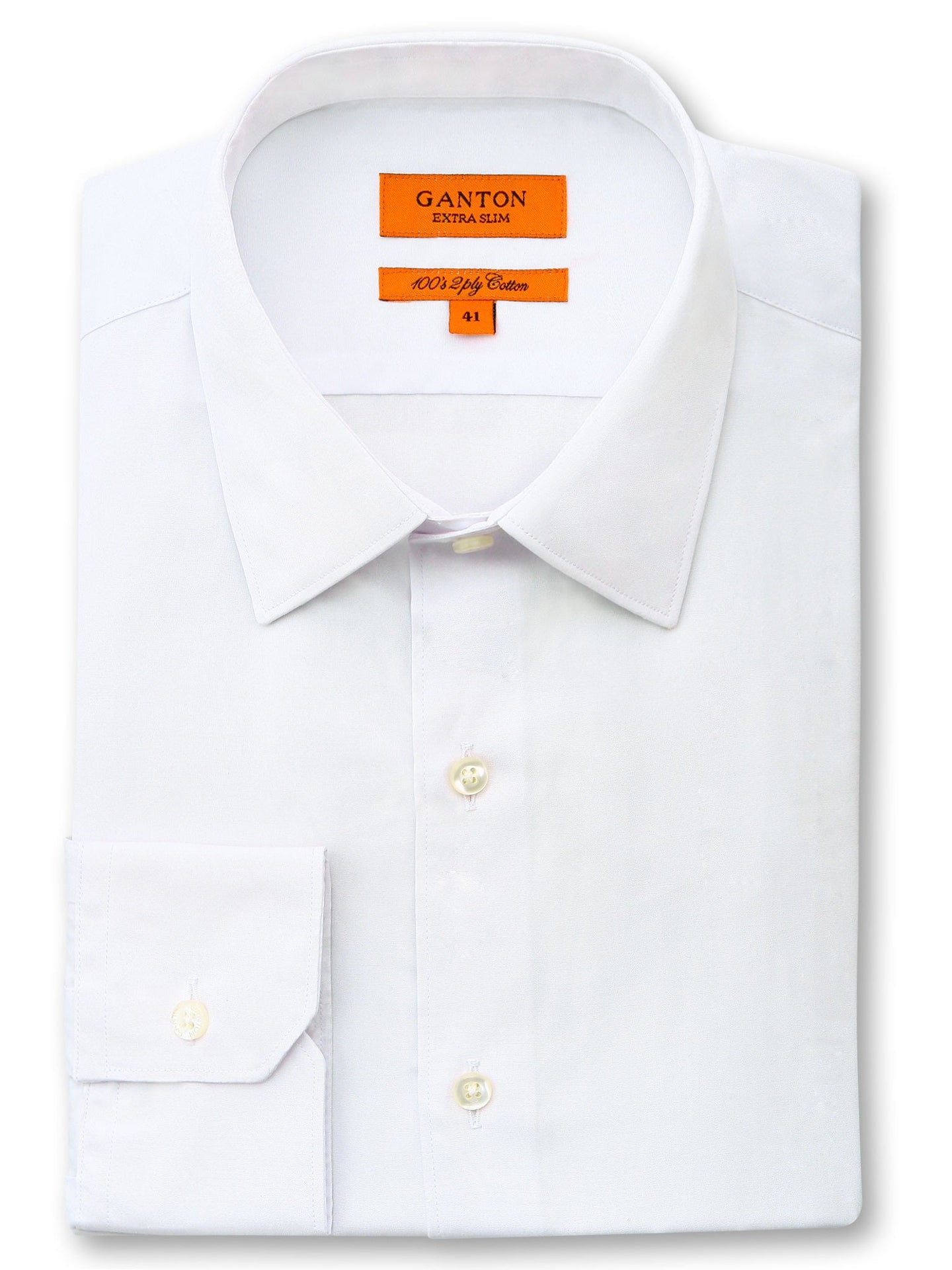 Ganton, Cotton Extra Slim - White