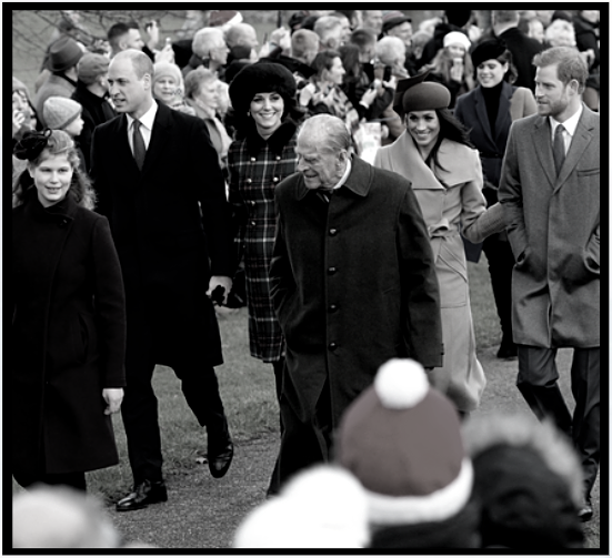 Prince Philip leads the way, accompanied by the Duke & Duchess of Cambridge and the Duke & Duchess of Sussex, Christmas 2017