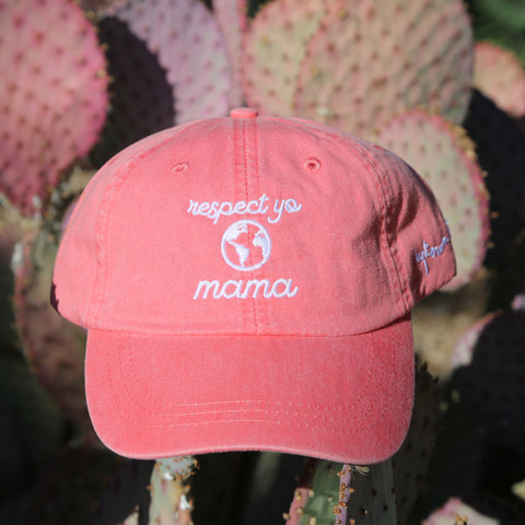 Coral Respect Yo Mama Dad Hat