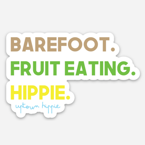 Barefoot. Fruit Eating. Hippie. Sticker