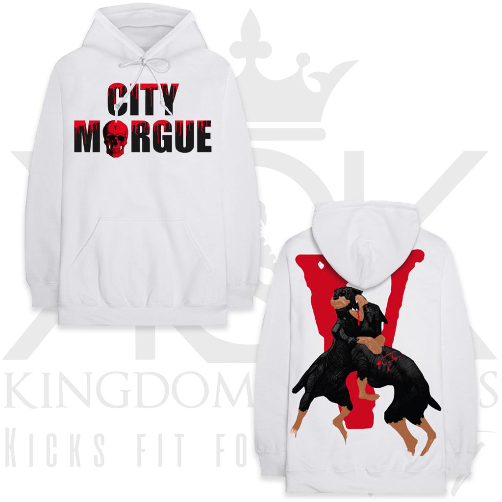 Vlone City Morgue Dog Hoodie White