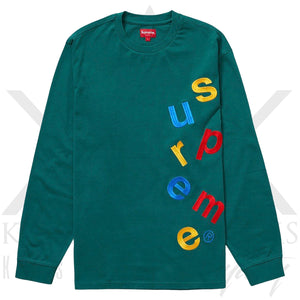 Supreme Scattered Logo Long Sleeve Dark Green