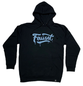Fauset Logo Drip Hoodie Black/Light Blue