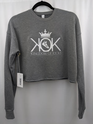 KOK Light Grey/White Logo Crop Crew Embroidered