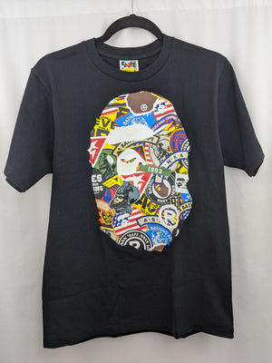 Bape Logos Big Head Tee Black