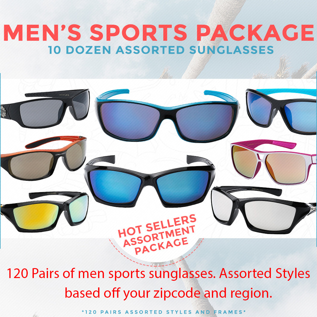 10 Dozen Wholesale Sports Sunglasses - 120 pairs all assorted styles - BuyWholesaleSunglasses.com