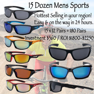 15 Dozen mens Hot sellers sports assortment start up package 180 Pairs - BuyWholesaleSunglasses.com