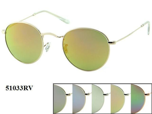 Unisex Hipster Circle Lens Metal Frame Sunglasses 1 Dozen 51033RV - BuyWholesaleSunglasses.com