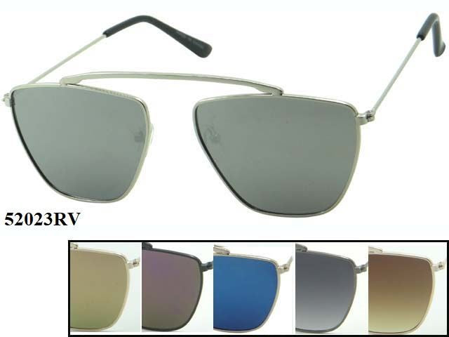 Unisex Wholesale Trendy Shaped Lens Hipster Metal Aviator Sunglasses 1 Dozen 52023RV - BuyWholesaleSunglasses.com
