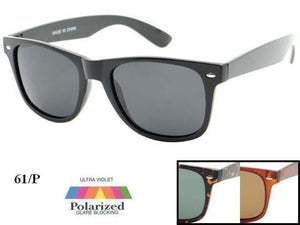 Unisex Wholesale Polarized Fashion Wayfarer Sunglasses 1 Dozen 61-P - BuyWholesaleSunglasses.com