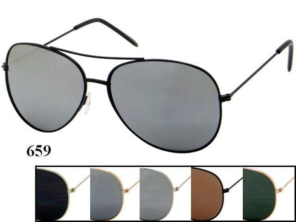 Unisex Wholesale Aviator Metal Frame Sunglasses 659 - BuyWholesaleSunglasses.com