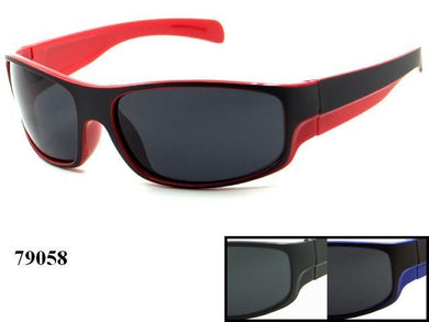 Mens Wholesale Sport Two Toned Plastic Wrap Sunglasses 1 Dozen 79058 - BuyWholesaleSunglasses.com