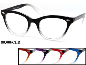 Womens Wholesale Fashionable Cat Eye Gradient Frame Clear Lens Sunglasses 1 Dozen 80300/CLR - BuyWholesaleSunglasses.com