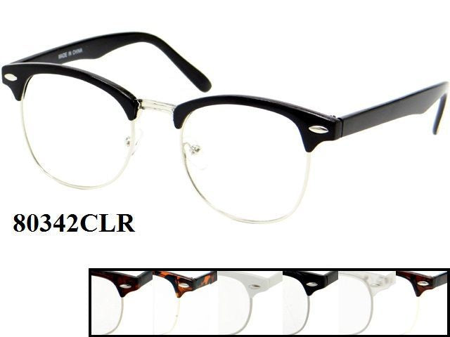 Unisex Wholesale Classic Retro Frame With Clear Lens 1 Dozen 80342/CLR