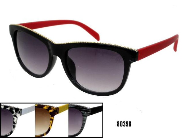 Womens Wholesale Tortoise Shell Two Toned Fashion Metal Band Framed Sunglasses 1 Dozen 80398 - BuyWholesaleSunglasses.com