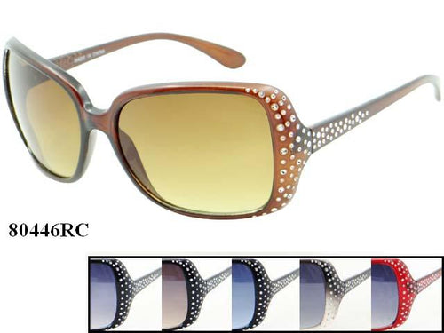 Womens Wholesale Fashionable Rhinestone Big Lens Sunglasses 1 Dozen 80446RC - BuyWholesaleSunglasses.com