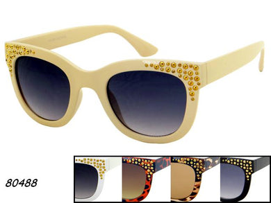 Womens Wholesale Rhinestone Trendy Cat Eye Lens Plastic Sunglasses 1 Dozen 80488 - BuyWholesaleSunglasses.com